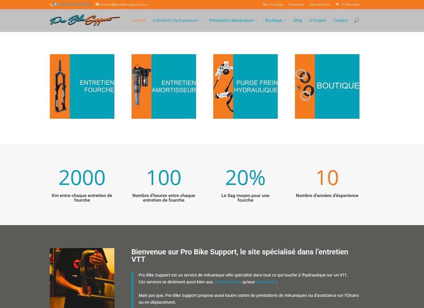 Site de vente et de présentation Pro Bike Support